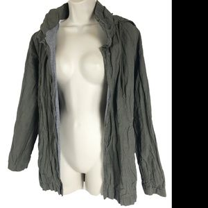 James Perse 1 Crumpled Style Jacket Olive Green